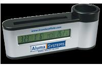 Porte-stylos et cartes avec horloge calendrier thermomètre Image