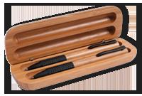 Coffret cadeau en bamboo avec un stylo et un pousse-mine en bamboo Image