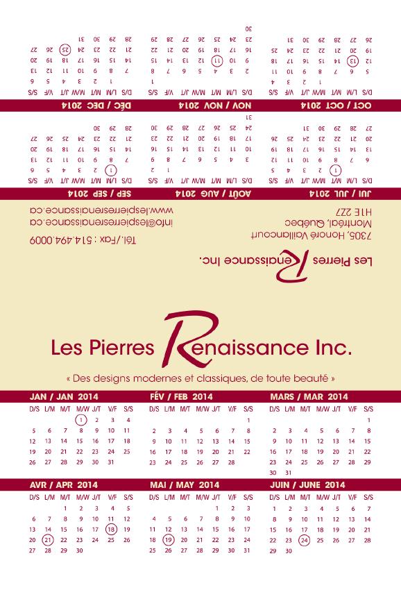 Les Pierres Renaissance - calendrier 4 x 6